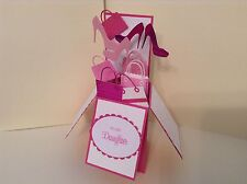 Handmade Card - Happy Birthday Daughter - shoes & bags in a box -pop up design