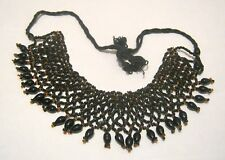 Lovely bib style necklace black and brown beads goth style adjustable length