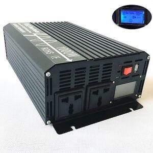 LCD Pure Sine Wave Power Inverter 1000W 12V/24V to 110V/220V with USB Off Grid