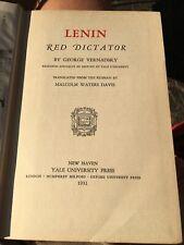 1931 Biography of VLADIMIR LENIN Vernadsky RED DICTATOR OF RUSSIA Soviet Union