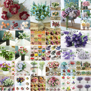 13/20 Heads Silk Peony Artificial Flowers Rose Wedding Bouquet Home Party Decor