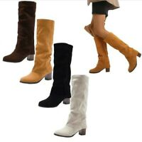 Women's Suede Fabric Chunky Heel Casual Round Toe Mid Calf Boots Outdoor 35/43 D