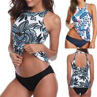 Women Boho Sporty Tankini Set Padded Swimsuit Swimwear Beach Floral Bathing Suit