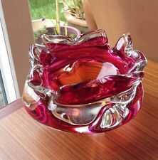 Rose Pink to Orange Heavy Art Glass Star Candy Dish - Probably Murano