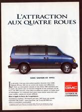 1993 GMC Safari XT Vintage Original Print AD - Blue car photo french canadian