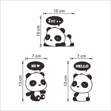 3PCS Removable Panda Home Office Light Switch Funny Wall Decal Vinyl Stickers