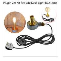 Industrial Base Plug in 2m Table Lamp Kit Bedside Bedroom Desk Bulb B22 Light UK