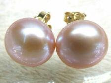 AAA 7-8MM real natural south sea purple pearl earrings 14K GOLD stud earrings