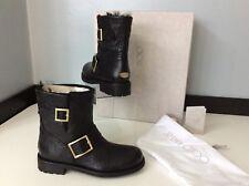Jimmy Choo Biker Boots, Short, Size Uk 2 Eu35, Black Leather, Sheepskin Rrp £650