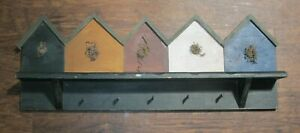 """WOODEN WALL SHELF WITH PAINTED BIRD HOUSES  5 PEGS 28"""" x 11""""x 4 Farmhouse Rustic"""