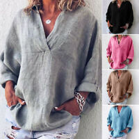 Womens Boho Long Sleeve Cotton Linen Kaftan Ladies Baggy Blouse Tee Shirt gous
