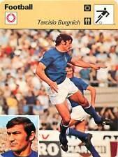 FICHE CARD: Tarcisio Burgnich Italy Défenseur Defender Entraîneur FOOTBALL 1970s