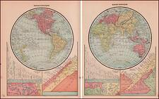 WORLD MAP in GLOBES, River, Mountain, Lake Charts, antique original 1903