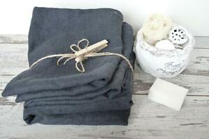 Durable Thick 100 % Linen towels hand face Set of 2 / 3 pcs Charcoal grey FLAX