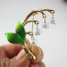 GOLD PLATED & ENAMELLED BROOCH OF LILY OF THE VALLEY - FREE UK P&P........CG0501