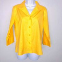 ColdWater Creek Womens Top sz S Yellow Career Fitted 3/4 Sleeve Button Down MW43