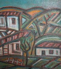 Cityscape landscape vintage abstract oil painting signed