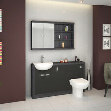 Bathroom 1500mm Vanity Storage Cabinet Sink Unit Grey & Silver with Toilet