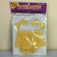 """Vintage Tiny Doll Baby Yellow Pleated Dress and Panties Doll Clothes 6-7"""" Dolls"""
