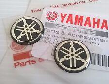 2 x Yamaha 100 Genuine 18mm Tuning fourche Logo Noir Argent Autocollant Emblème