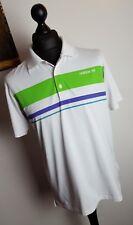 Mens Adidas White/Lime/Purple Blocked Striped Golf Fashion Polo T Shirt - Large