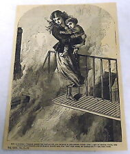 1882 magazine engraving ~ KIT, A MARTYR ~ woman carries young boy to safety