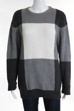 Adam Lippes Gray White Cotton Color Blocked WOMENS Sweater Size LARGE