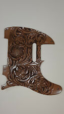 """Leather pickguard Custom Hand Tooled Leather Telecaster """"Floral Riffs"""" classic"""