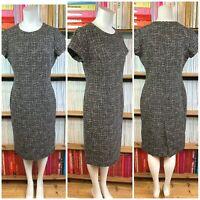LK BENNETT Dress 12 US 8 Wool Brown Tweed Pencil Sheath Formal Minimalist