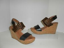 Lucky Brand Brown Animal Print Black Leather Cork Wedge Size 7.5 1/2 Heels Shoes