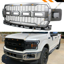 FOR 2018-2019 F150 R STYLE GUNMETAL GREY FRONT HOOD HONEYCOMB MESH GRILL GRILLE