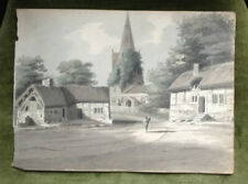 """c.1795-1801""""EASTHAM [NR] LIVERPOOL"""" OLD HOUSES & CHURCH FINE WATERCOLOUR WIRRAL"""