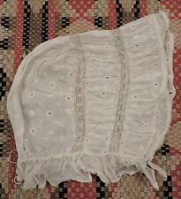 C 1840'S Rich Hand Embroidered Day Bonnet / Cap Lace Insertion