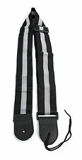 Black & Silver Stripe Universal Guitar Strap For Acoustic Electric Bass Classic