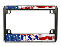 USA Flag Motorcycle License Plate Frame Black Metal Personalize Gifts Bikers