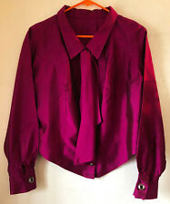 Vintage 90s French Women's BLOUSE Cropped Top Dark Hot Pink, Scarf Retro Buttons