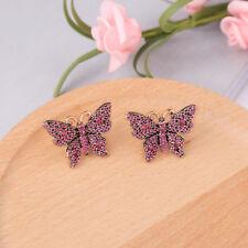 Pendientes pendientes Dorado Puntita Insecto Lazo Cristal Rosa Retro NN5