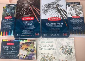 Derwent Metallic Pencils, Coloursoft , Linemaker, Inktense Set #1 +#2 Graphic ++