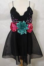 "Charlotte Russe Black Crochet Multi-Colored Floral Jeweled ""Costume"" Dress M"