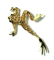 Vintage 14k Yellow Gold Frog Pin Brooch with Emerald Eyes