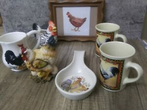 Farmhouse Chicken Rooster Decor 7pc Spoon Rest matches Corelle, Bay Island MUGS