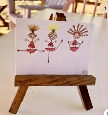 """ACEO ORIGINAL Miniature Art By PJR """"OU Cheerleaders"""" Collectible Painting"""