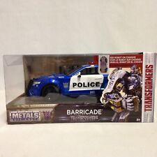 "TRANSFORMERS 5 BARRICADE CUSTOM POLICE CAR w/ROBOT, 8.75"" DIECAST 1:24 JADA TOY"