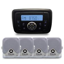 "Herdio Marine Bluetooth Car Audio Gauge Radio MP3 Player+2 PCs 4""Marine Speaker"