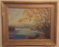 Vintage Landscape Painting Signed J McMinn '40 Lake Colorful Framed