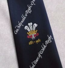 ONE HUNDRED YEARS OF WELSH RUGBY TIE VINTAGE RETRO 1881-1981 1980s NAVY WALES