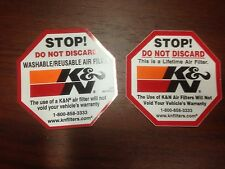Pair (2) of K&N Filters Do Not Discard Warning Decals LOOK!!!!