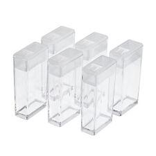100 Clear Mini Plastic Bead Storage Boxes Organizer Jar Clip-on Closure 50x27mm