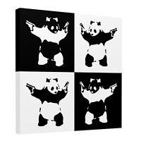 Banksy Pandamonium Harlequin Square Canvas Wall Art Picture Print