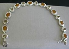 Simulated Amber Quartz  Multi Stone Sterling Silver Tennis Bracelet